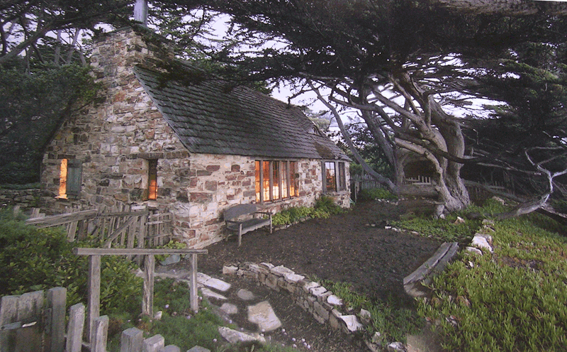 exterior images of first stone cottage home at carmel beach california for rent